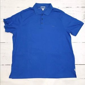 Calvin Klein Liquid Cotton Polo Shirt 2XL Blue XXL